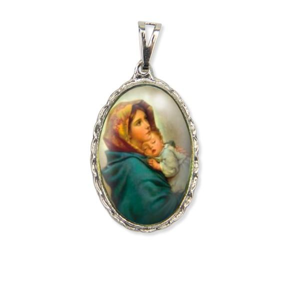 MD128045 - Medalha N. Sra. Do Repouso Rendada Níquel - 5x2,5cm