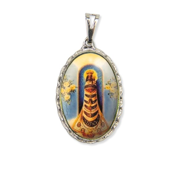 MD128049 - Medalha N. Sra. Do Loreto Rendada Níquel - 5x2,5cm