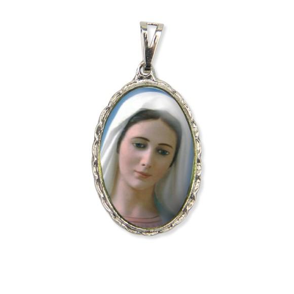 MD128050 - Medalha Rainha da Paz Rendada Níquel - 5x2,5cm