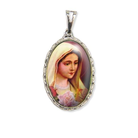 MD128051 - Medalha Rosa Mistica Rendada Níquel - 5x2,5cm