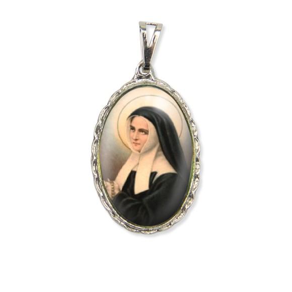 MD128055 - Medalha Santa Bernadete Rendada Níquel - 5x2,5cm