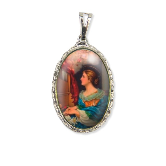 MD128059 - Medalha Santa Cecília Rendada Níquel - 5x2,5cm
