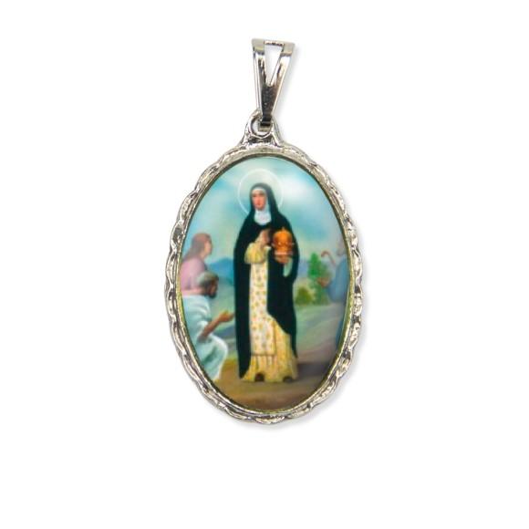 MD128061 - Medalha Santa Edwiges Rendada Níquel - 5x2,5cm