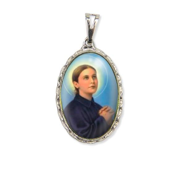 MD128065 - Medalha Santa Gemma Galgani Rendada Níquel - 5x2,5cm