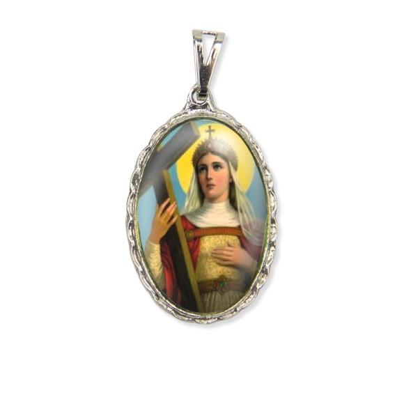 MD128066 - Medalha Santa Helena Rendada Níquel - 5x2,5cm