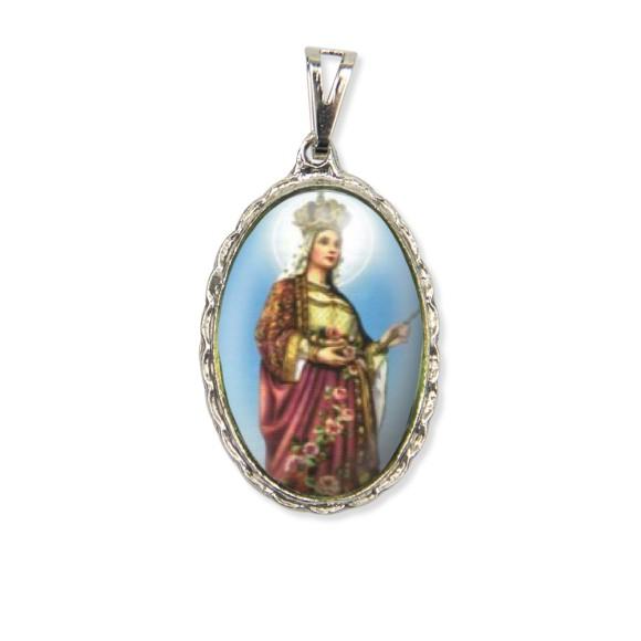 MD128067 - Medalha Santa Isabel da Hungria Rendada Níquel - 5x2,5cm
