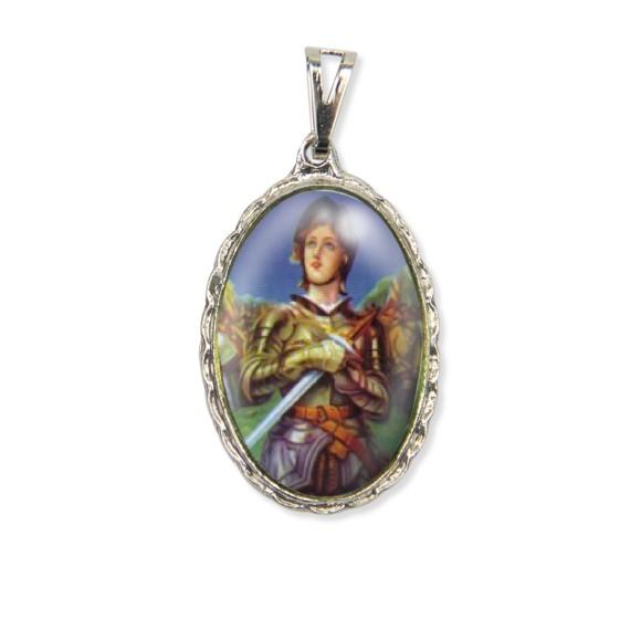 MD128068 - Medalha Santa Joana D'Arc Rendada Níquel - 5x2,5cm