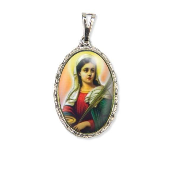 MD128070 - Medalha Santa Luzia Rendada Níquel - 5x2,5cm