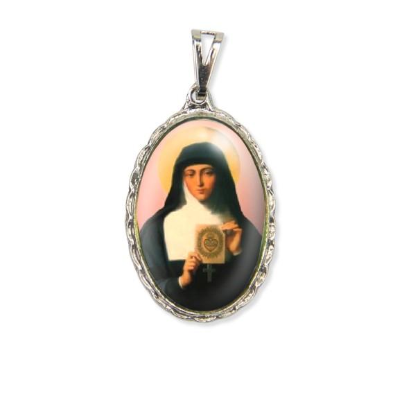 MD128072 - Medalha Santa Margarida Maria Rendada Níquel - 5x2,5cm