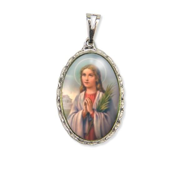 MD128073 - Medalha Santa Maria Gorrete Rendada Níquel - 5x2,5cm