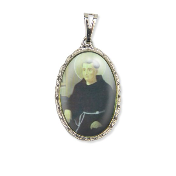 MD128404 - Medalha Frei Galvão Rendada Níquel - 5x2,5cm