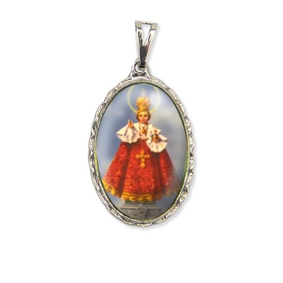 MD128407 - Medalha Jesus de Praga Rendada Níquel - 5x2,5cm