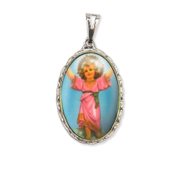 MD128409 - Medalha Menino Jesus Rendada Níquel - 5x2,5cm