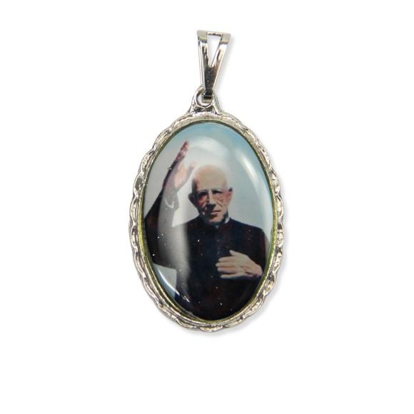 MD128412 - Medalha Padre Donizete Rendada Níquel - 5x2,5cm
