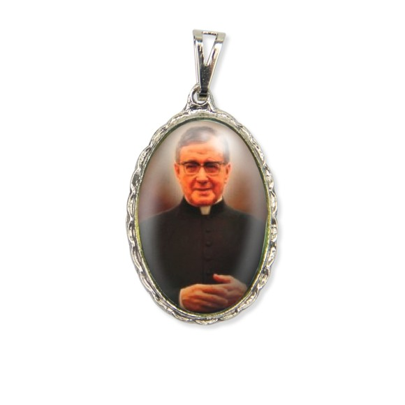 MD128414 - Medalha Padre José Maria Escriva Rendada Níquel - 5x2,5cm