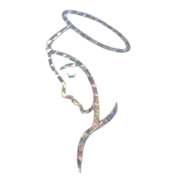 AD9122 - Adesivo Nossa Senhora Prata c/ Moldura Grande 12x6cm
