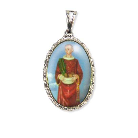 MD128421 - Medalha Santo Estevão Rendada Níquel - 5x2,5cm
