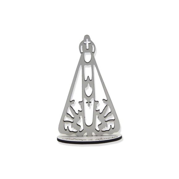 AO290502 - Adorno Pedestal N. Sra. Aparecida MDF Branco - 11,5x6,5cm