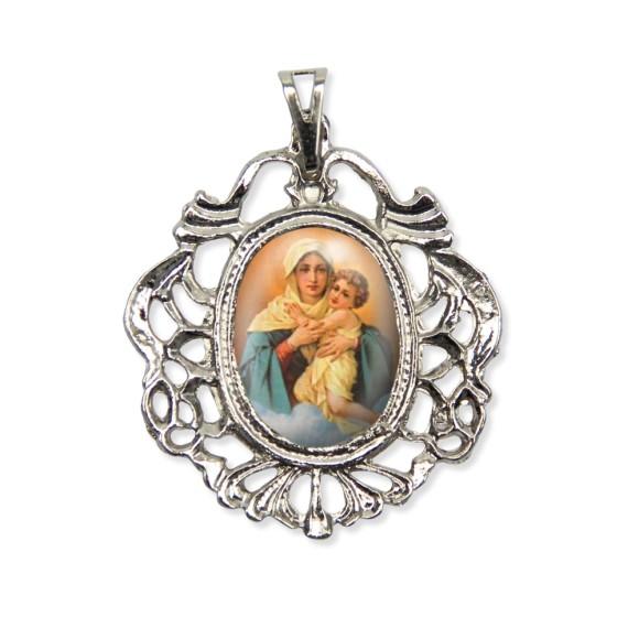 MD129006 - Medalha Mãe Rainha Camafeu Níquel - 5,5x4,2cm