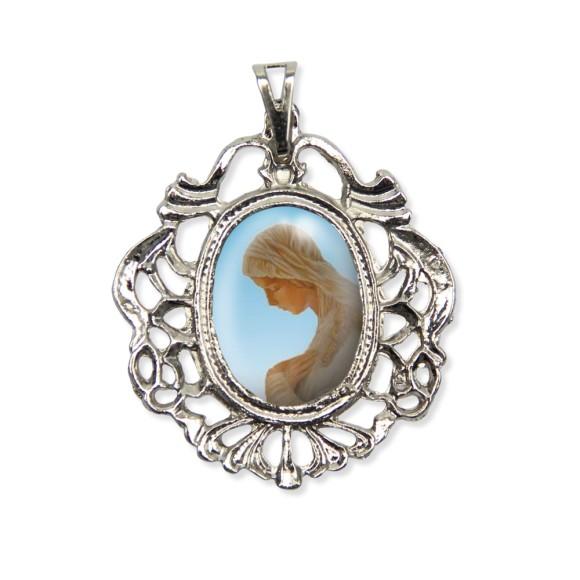 MD129009 - Medalha N. Sra. Da Anunciação Camafeu Níquel - 5,5x4,2cm