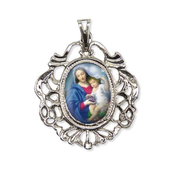 MD129014 - Medalha N. Sra. Da Divina Providência Camafeu Níquel - 5,5x4,2cm