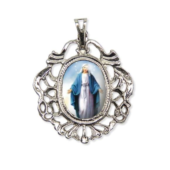MD520070 - Medalha N. Sra. Das Graças Camafeu Níquel - 5,5x4,2cm