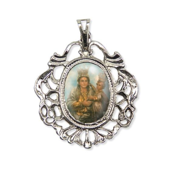 MD129022 - Medalha N. Sra. de Achiropita Camafeu Níquel - 5,5x4,2cm