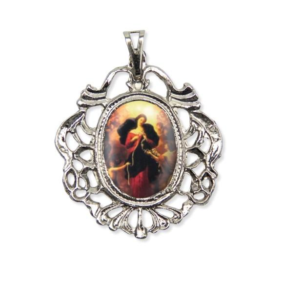 MD129029 - Medalha N. Sra. Desatadora Dos Nós Camafeu Níquel - 5,5x4,2cm