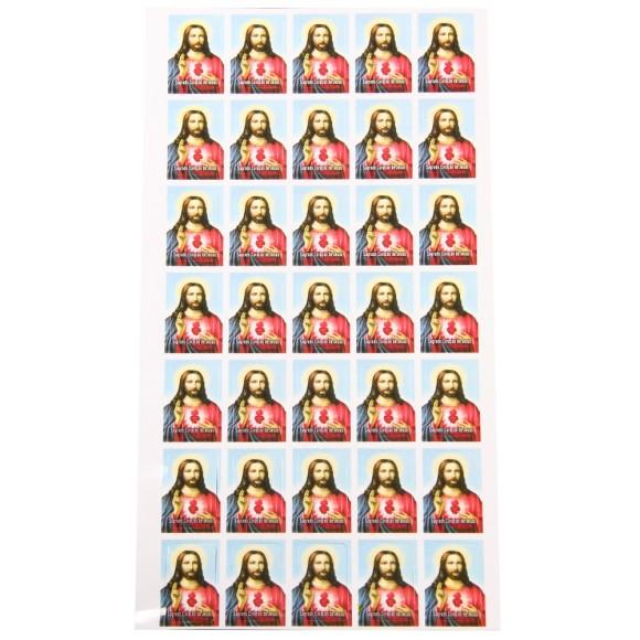 AD116401 - Adesivos do Sagrado Coração de Jesus (Cartela c/ 35un.) - 2,5x1,8cm