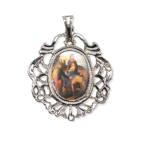 MD129033 - Medalha N. Sra. Do Desterro Camafeu Níquel - 5,5x4,2cm