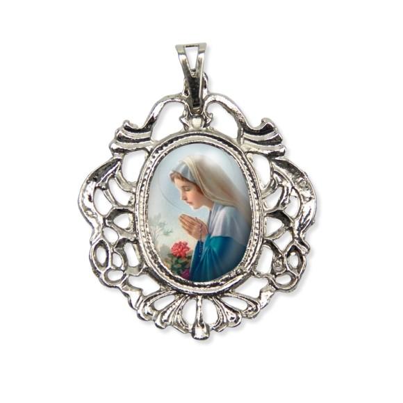 MD129039 - Medalha N. Sra. Do Silêncio Camafeu Níquel - 5,5x4,2cm