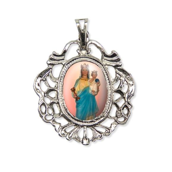 MD129044 - Medalha N. Sra. Dos Remédeios Camafeu Níquel - 5,5x4,2cm