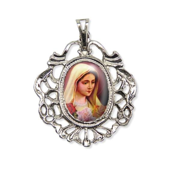 MD129047 - Medalha Rosa Mística Camafeu Níquel - 5,5x4,2cm