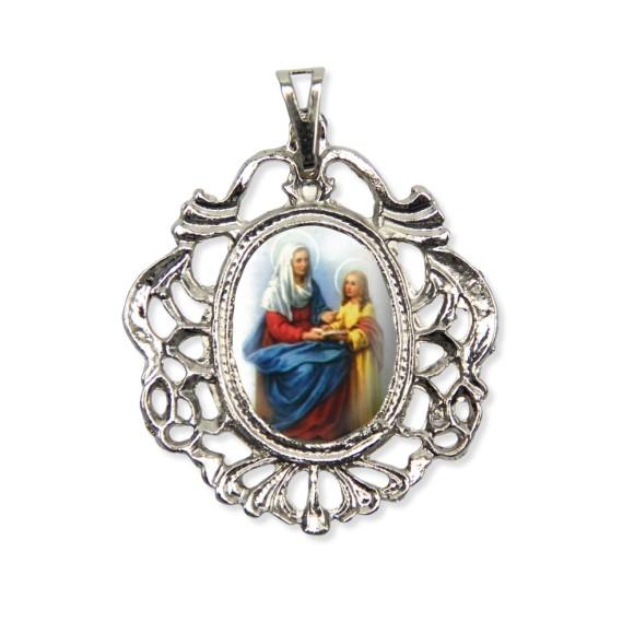 MD129049 - Medalha Santa Ana Camafeu Níquel - 5,5x4,2cm