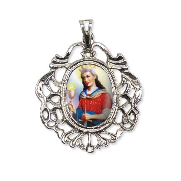 MD129051 - Medalha Santa Bárbara Camafeu Níquel - 5,5x4,2cm