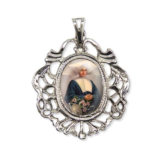 MD129052 - Medalha Santa Catarina de Laboré Camafeu Níquel - 5,5x4,2cm