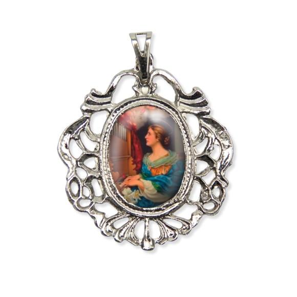 MD129054 - Medalha Santa Cecília Camafeu Níquel - 5,5x4,2cm