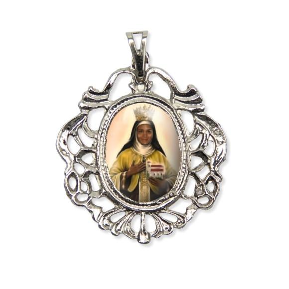 MD129057 - Medalha Santa Efigênia Camafeu Níquel - 5,5x4,2cm
