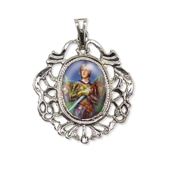 MD129064 - Medalha Santa Joana D'Arc Camafeu Níquel - 5,5x4,2cm