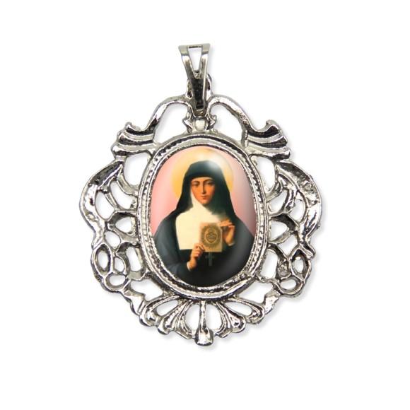 MD129067 - Medalha Santa Margarida Maria Camafeu Níquel - 5,5x4,2cm