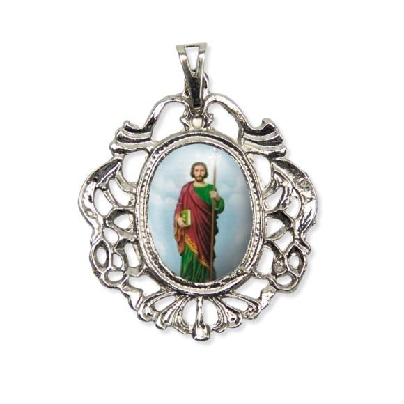 MD129435 - Medalha São Judas Tadeu Camafeu Níquel - 5,5x4,2cm