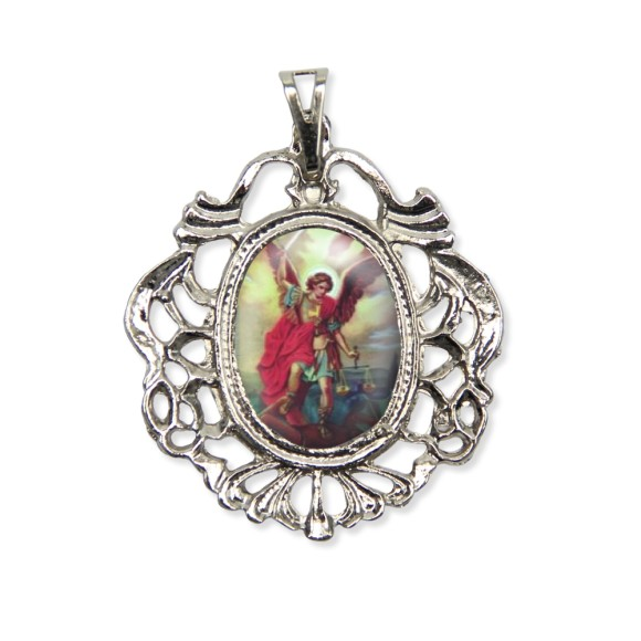 MD129805 - Medalha São Miguel Camafeu Níquel - 5,5x4,2cm
