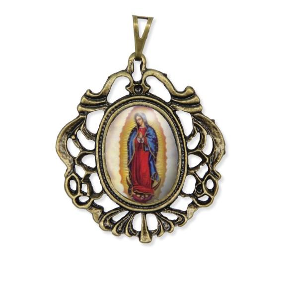 MD129207 - Medalha N. Sra. De Guadalupe Camafeu Ouro Velho - 5,5x4,2cm