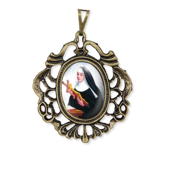 MD129218 - Medalha Santa Rita de Cássia Camafeu Ouro Velho - 5,5x4,2cm