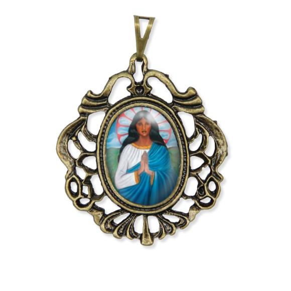 MD129220 - Medalha Santa Sara Kali Camafeu Ouro Velho - 5,5x4,2cm