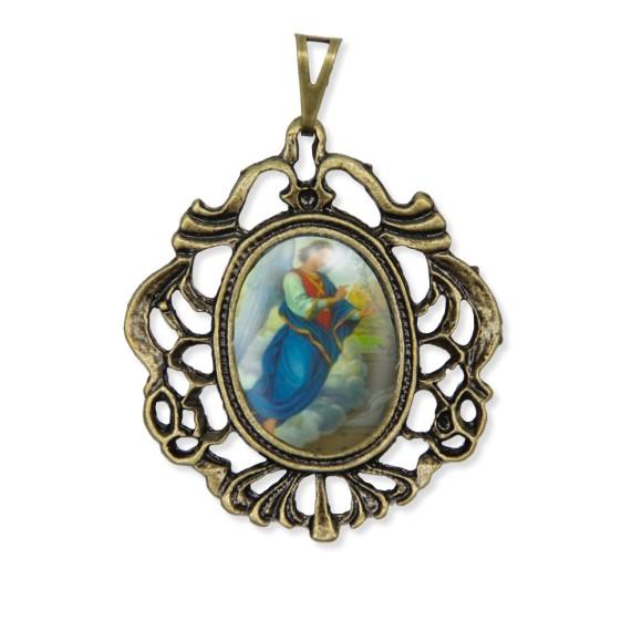 MD129903 - Medalha São Gabriel Arcanjo Camafeu Ouro Velho - 5,5x4,2cm