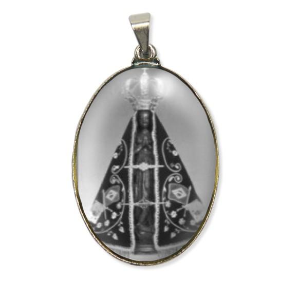 MD130001 - Medalha N. Sra. Aparecida Resinada Oval Níquel - 6x3,2cm