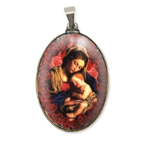 MD130002 - Medalha N. Sra. Da Divina Providência Resinada Oval Níquel - 6x3,2cm