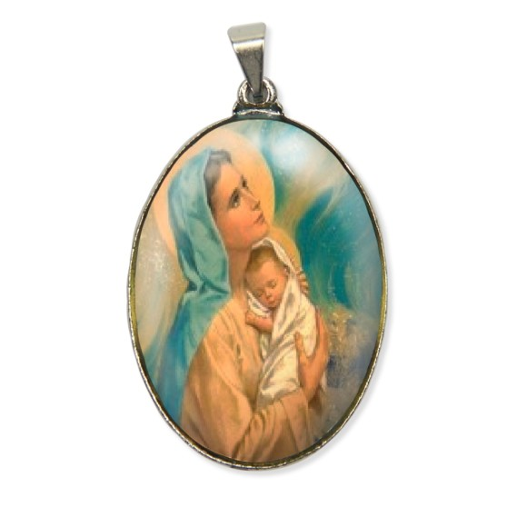 MD130005 - Medalha Nossa Senhora Resinada Oval Níquel - 6x3,2cm
