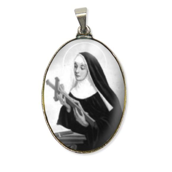 MD130007 - Medalha Santa Rita de Cássia Resinada Oval Níquel - 6x3,2cm